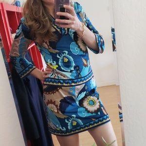 Trina Turk bell sleeve paisley mini dress